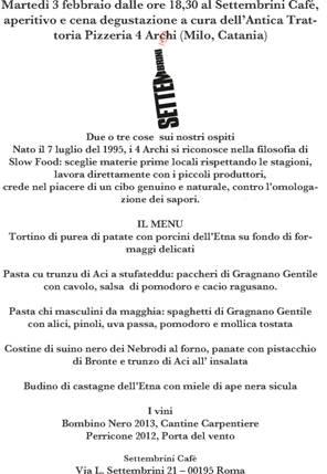 menu' dei 4 archi a Rima