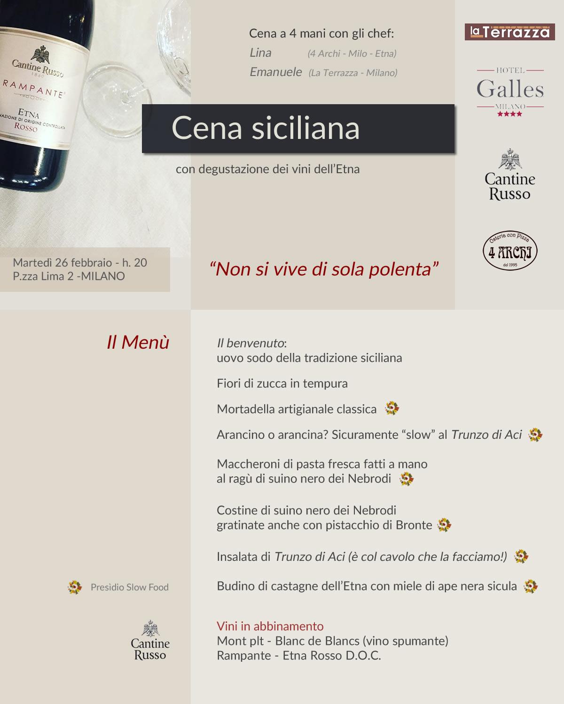 Cena siciliana a Milano: il Menù