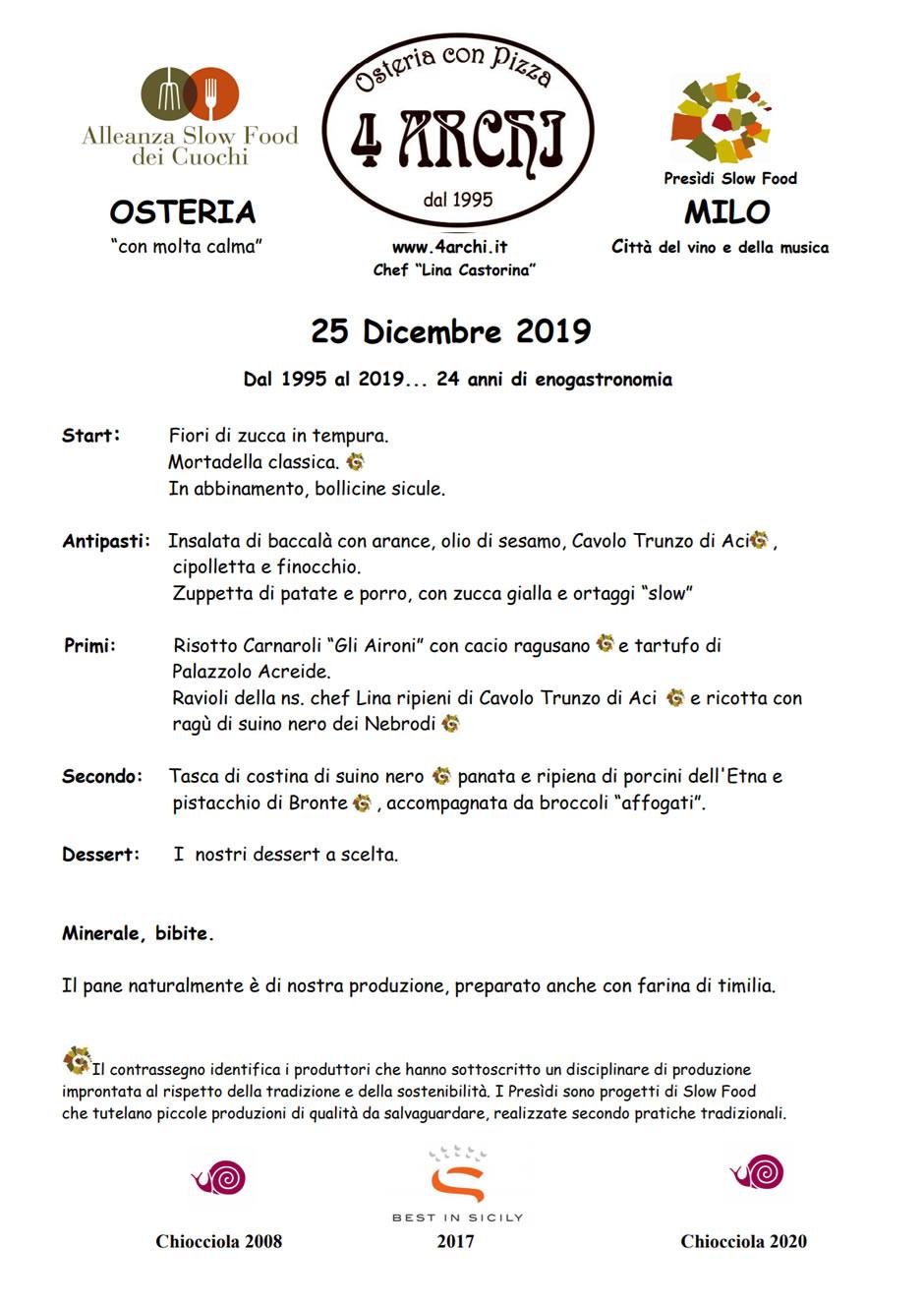 Il menù di Natale 2019
